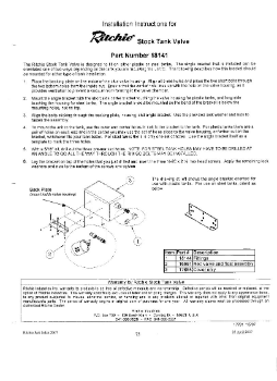 Ritchie Stock Tank Valve Parts & Install Instructions