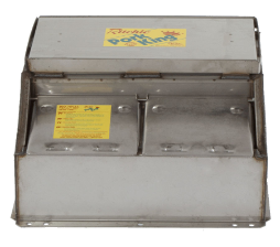 16458 Pork King 2-1 heated livestock waterer with stainless steel trough for 80 hogs and swine