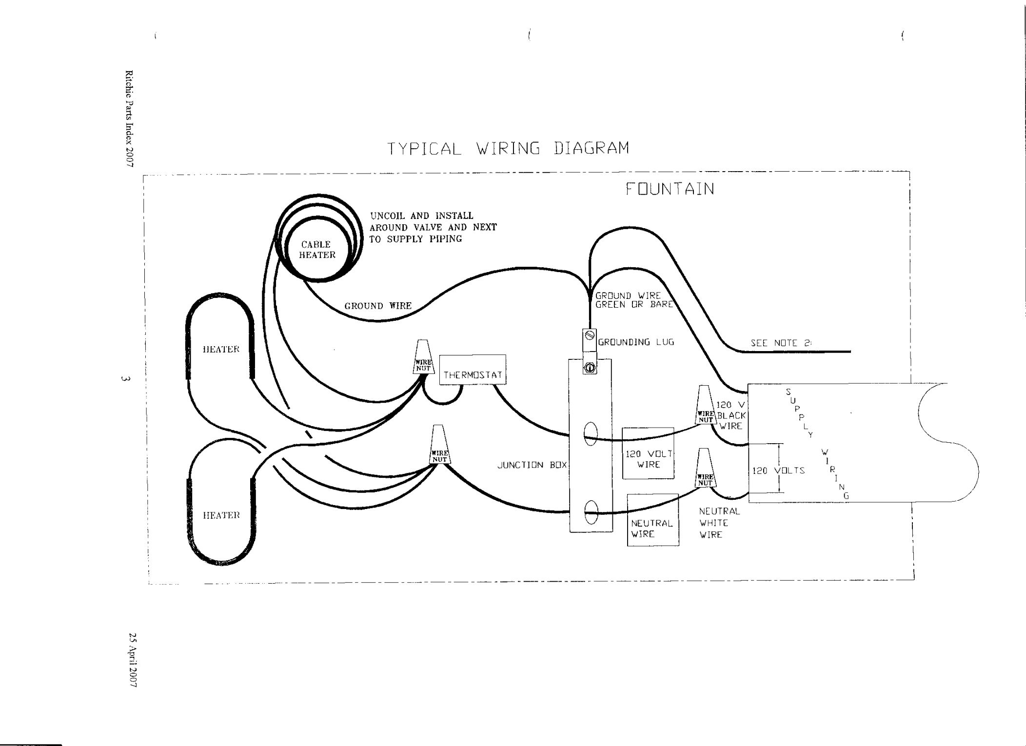 Typical Wiring Diagram : Typical wiring diagram for waterers and fountains
