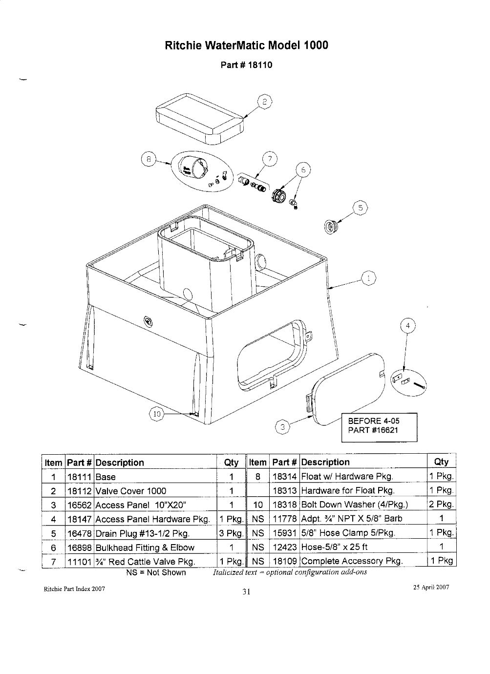 Watermatic 1000 Parts
